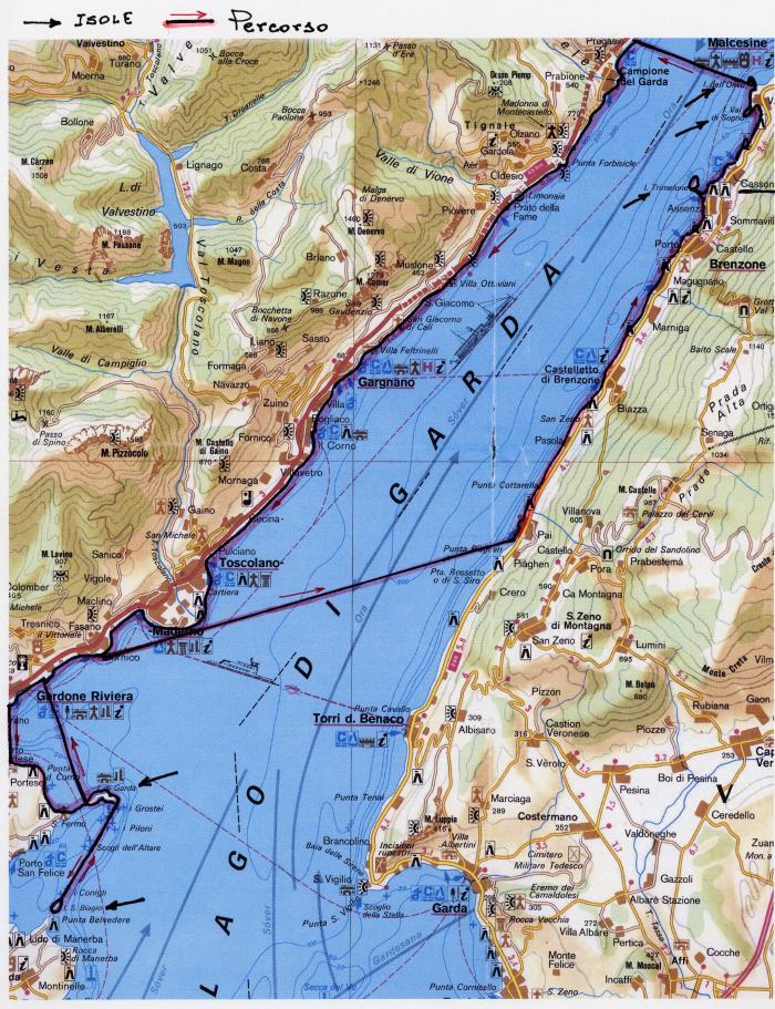 itinerario tra le isole del lago di Garda - mappa Istituto Geografico De Agostini