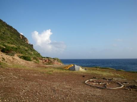 Il campo alla spiaggia delle Fumarole
