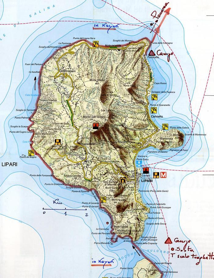 Isola di Lipari - Mappa Istituro Geografico DeAgostini