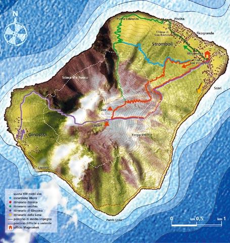 Stromboli - Le escursioni - mappa Magmatrek