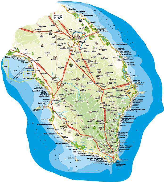 Mappa del Salento -