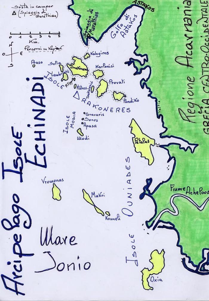 Mappa Arcipelago Isole Echinadi