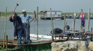 lavori al porticciolo di pesca all'ingresso della sacca di Scardovari (vicino a Barricata)