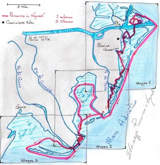 Ekomappa - 100 km. e più nel Delta del Po - Percorso in kayak